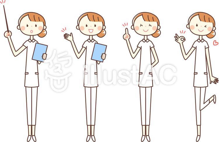 シンプルな人物_看護師さん_全身のイラスト