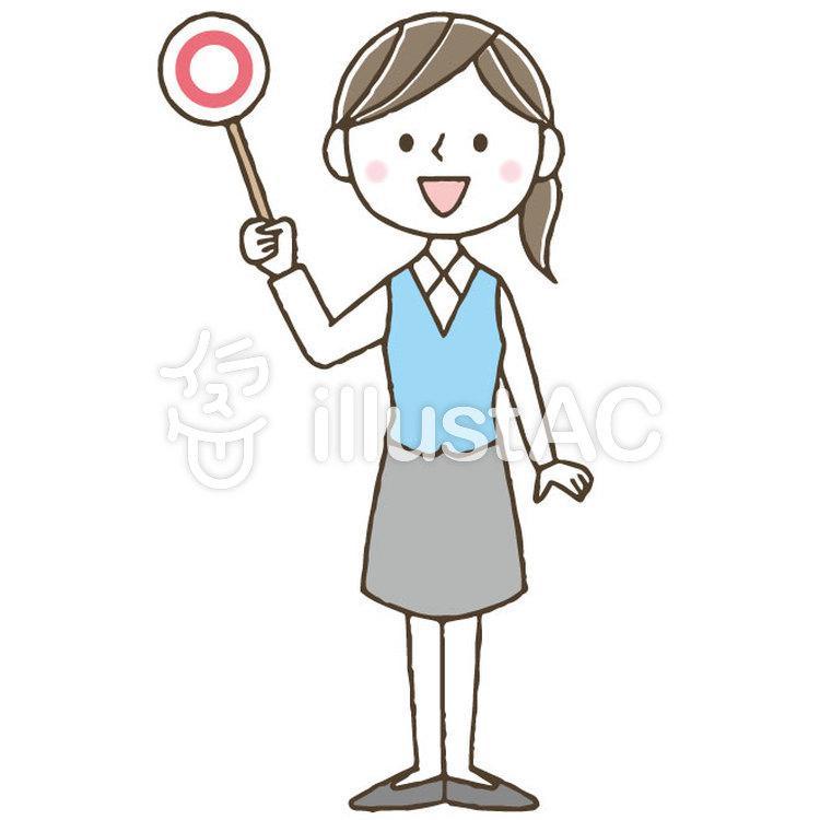 マルバツかわいい女性会社員ビジネスOLのイラスト