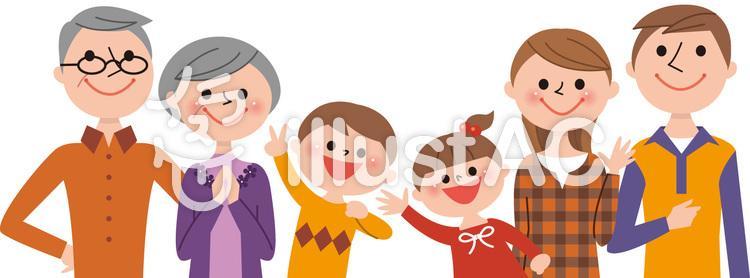 6人家族半身(秋服)のイラスト