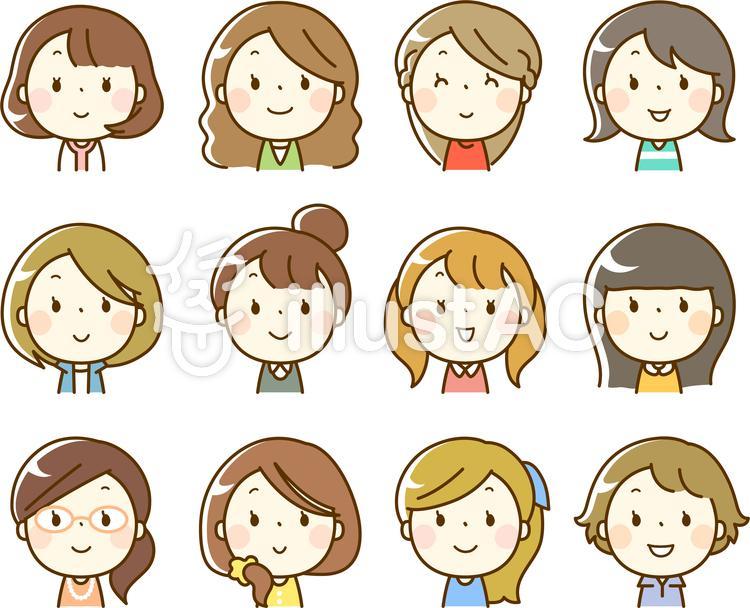 いろいろな女性の顔アイコン(上半身)のイラスト
