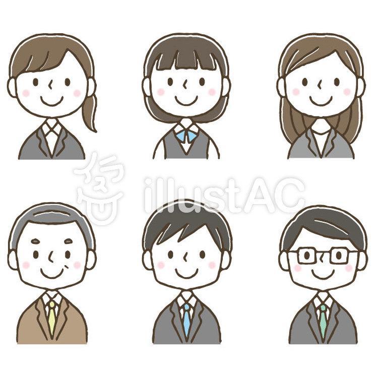 かわいい会社員ビジネスマンセット/手描きのイラスト