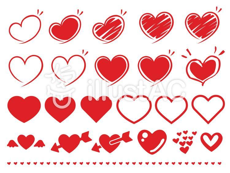 シンプルなハート・手描きの素材集セット赤のイラスト