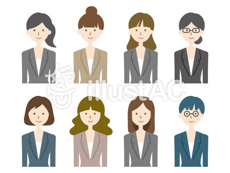 スーツの女性_ノーマル(カラー版)のイラスト