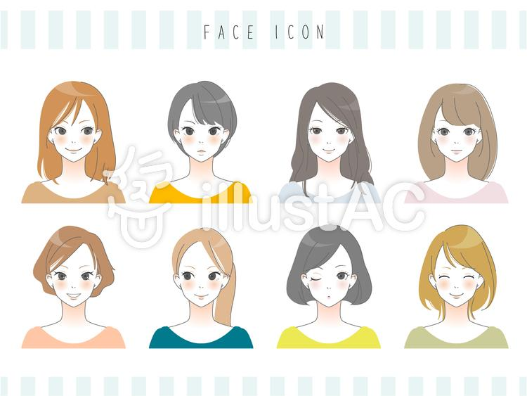 大人女子 顔アイコンのイラスト