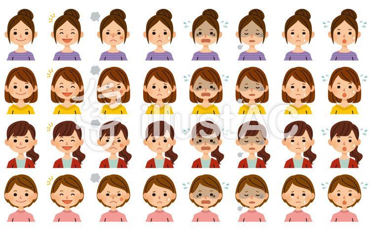 女性 表情セットのイラスト