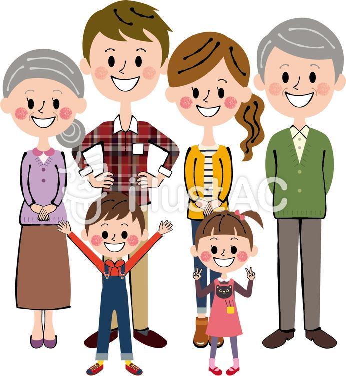 理想のほのぼの六人家族 三世帯 長袖全身のイラスト