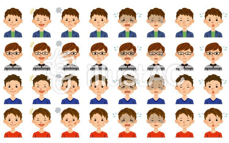 男性 表情セットのイラスト