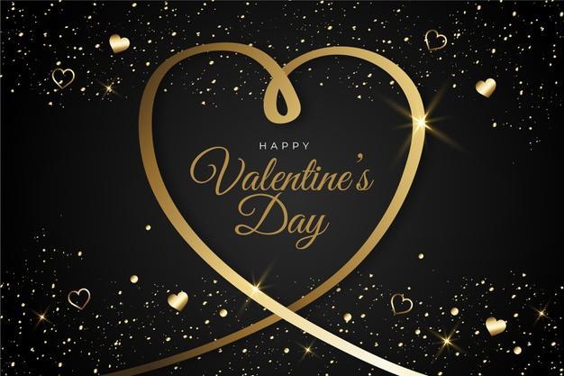 Golden valentines day background Free Vector
