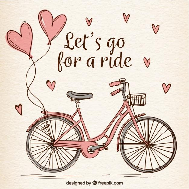 Hand drawn bike with cute hearts Free Vector