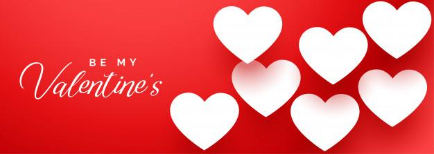 Happy valentines day elegant red banner with white hearts Free Vector