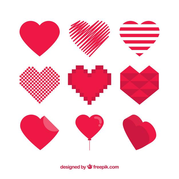 Red hearts set of different shapes Free Vector