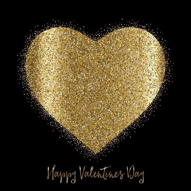 Valentine's day background with gold glittery heart Free Vector
